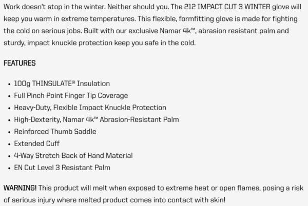 212 Impact Cut 3 Winter Glove
