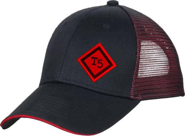 Team 5 diamond hat black / red side view