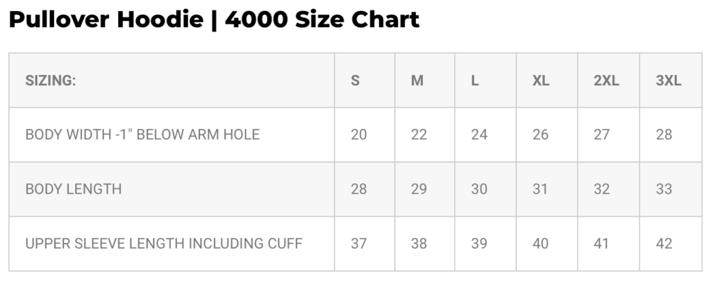 Spectra4000 size chart